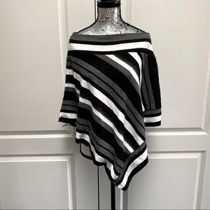 3️⃣3/25 Striped Poncho/Shawl/Wrap/Scarf